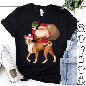 Premium Santa Riding Basenji Christmas Pajama Gift shirt