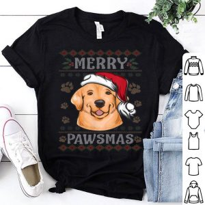 Top Xmas Golden Retriever Dog in Santa Hat Ugly Christmas shirt