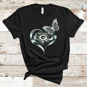 Awesome Butterfly Heart Love Green Bay Packers shirt
