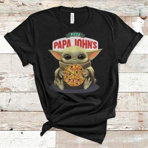 Awesome Star Wars Baby Yoda Hug Pizza Papa Johns shirt