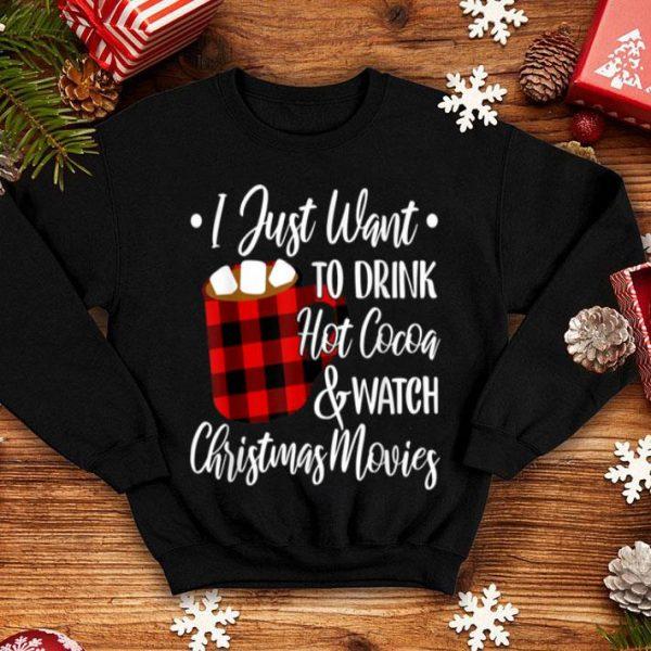 Beautiful Drink Hot Cocoa Watch Christmas Movies Buffalo Plaid Lover sweater