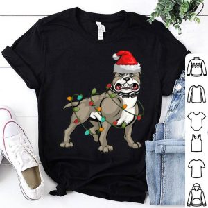Beautiful Pitbull Christmas pajama Santa Hat Lights Gift for Dog Lover sweater