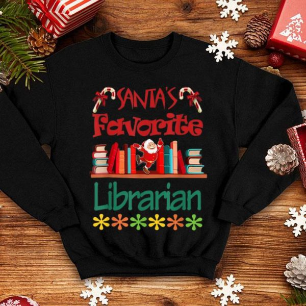 Beautiful Santa's Favorite Librarian Christmas Xmas Holiday sweater
