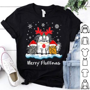 Christmas Cute Santa Cat Apparel Merry Fluffmas With Antlers sweater