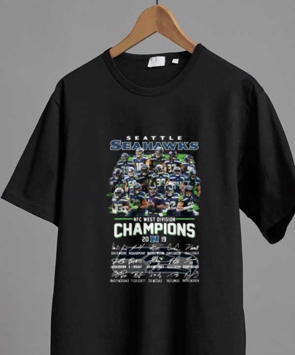 Hot Seattle Seahawks Nfc West Division Champions 2019 Signatures shirt
