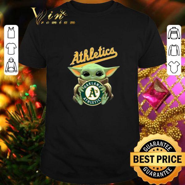 Nice Baby Yoda Hug Oakland Athletics Star Wars shirt