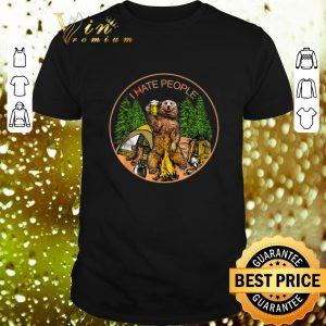 Nice Camping bear beer i hate people campfire shirt