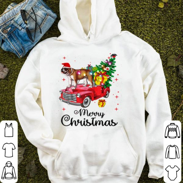 Nice English Bulldog Rides Red Truck Christmas Pajama sweater