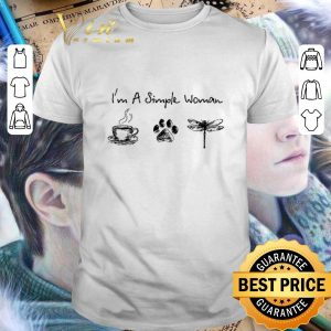 Nice I'm a simple woman i like coffee dog paw dragonfly shirt