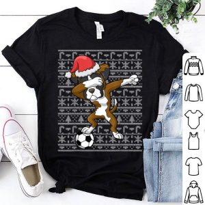 Official Soccer Ugly Christmas Dabbing Boxer Dog Santa Dab Gift sweater