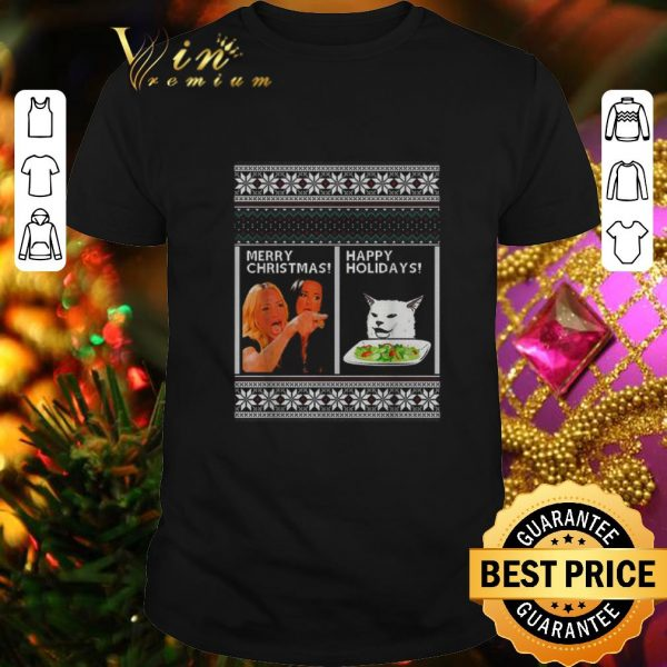 Official Woman yelling at cat happy holiday ugly Merry Christmas sweater
