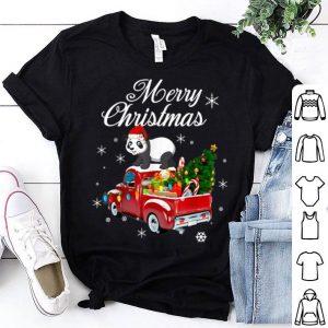 Top Panda Bear Rides Red Truck Christmas Pajama Xmas Gift Idea sweater