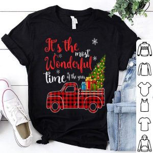 Top Red Plaid Truck and Christmas Tree Light-Truck Christmas sweater