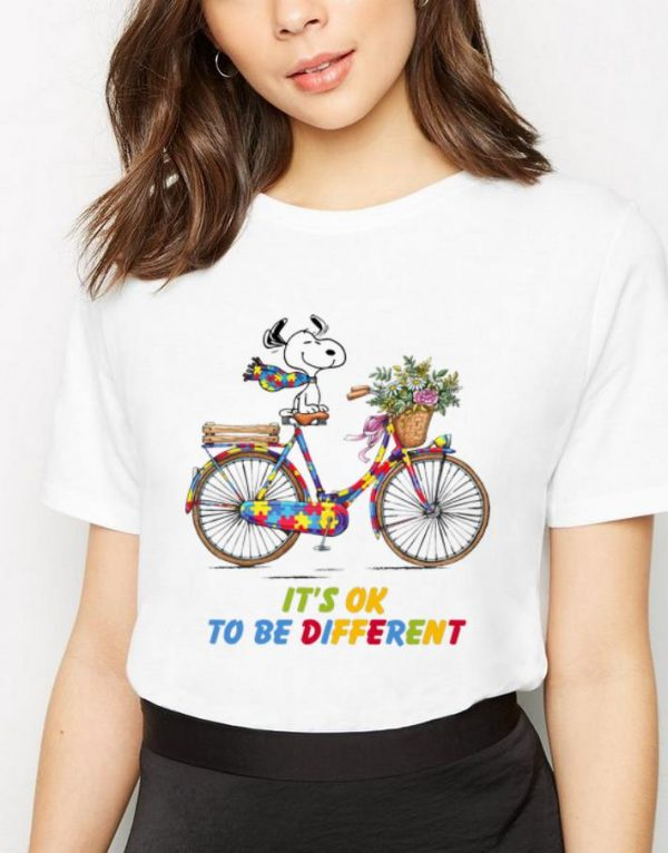 Official Snoopy Riding Bike It's Ok To Be Different Autism shirt