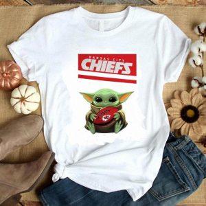 Cool Baby Yoda hug Kansas City Chiefs Ball Logo Star Wars shirt