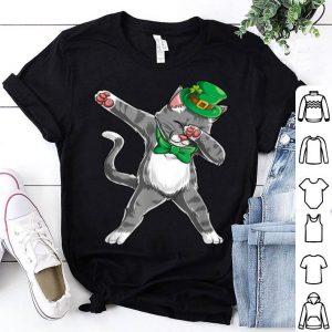 Nice Dabbing Cat St Patricks Day Boys Girls Kids Leprechaun Dab shirt