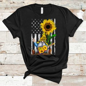 Original Gnome Playing Guitar Sunflower American Flag shirt