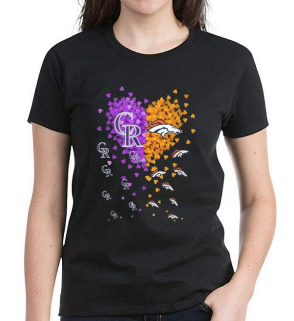 Premium Heart Colorado Rockies And Denver Broncos shirt