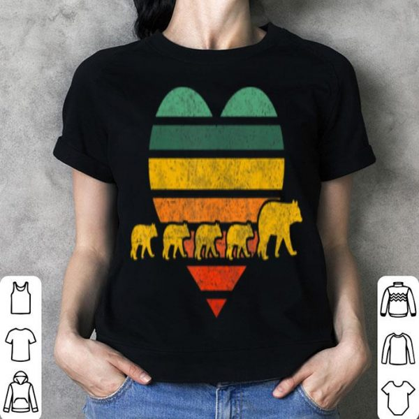 Nice Mama Bear Four Cubs Retr Heart Mothers Day Gift shirt