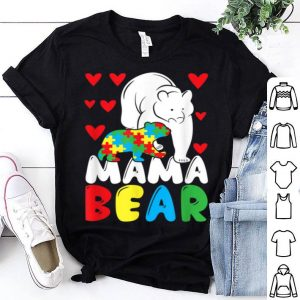 Original Autism Mama Bear Puzzle Piece Special Child Womens Autistic shirt