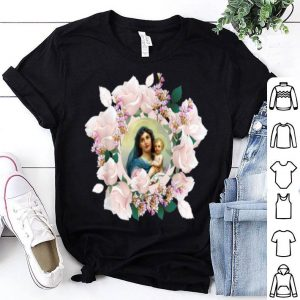 Premium Our Blessed Mother Mary And Jesus Vintage Flora Catholic shirt