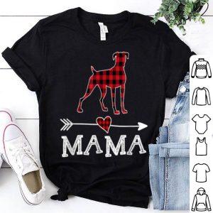 Top Womens Red Plaid Mama Boxer Dog Mom Buffalo Pajama shirt
