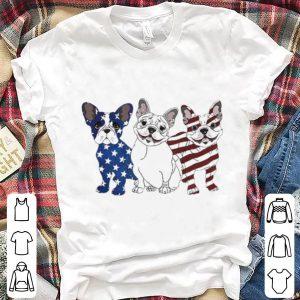 Bulldog blue white red American flag shirt