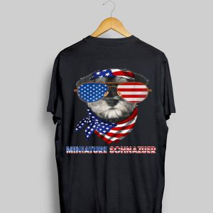 American Flag Miniature Schnazuer Dog Lover shirt