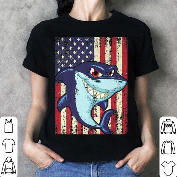 American Flag Shark 4th Of July shirt
