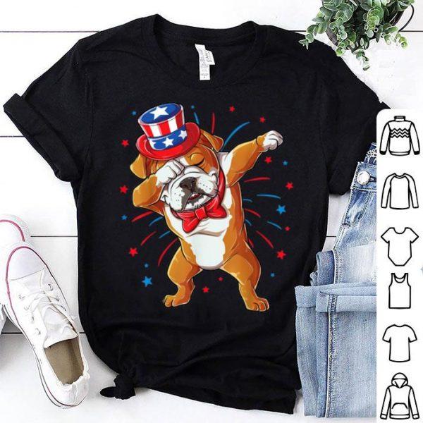Dabbing English Bulldog 4th Of July Men Usa Flag Shirt