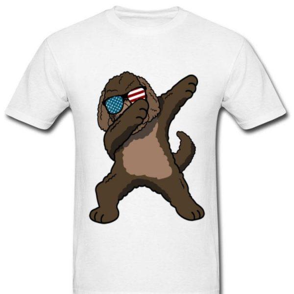 Dabbing Labradoodle Dog America Flag Free Usa Shirt