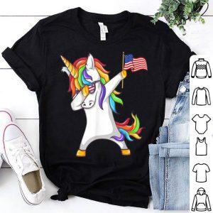 Dabbing Unicorn Us Flag 4th Of July shirt