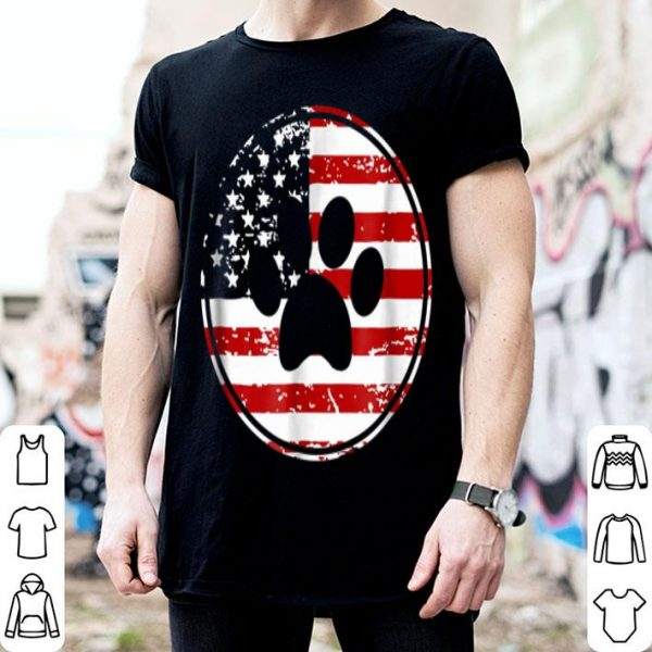 Dog Paw Print American Flag Usa Patriotic Shirt