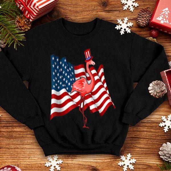 Flamingo Uncle Sam Hat 4th of July American Flag shirt