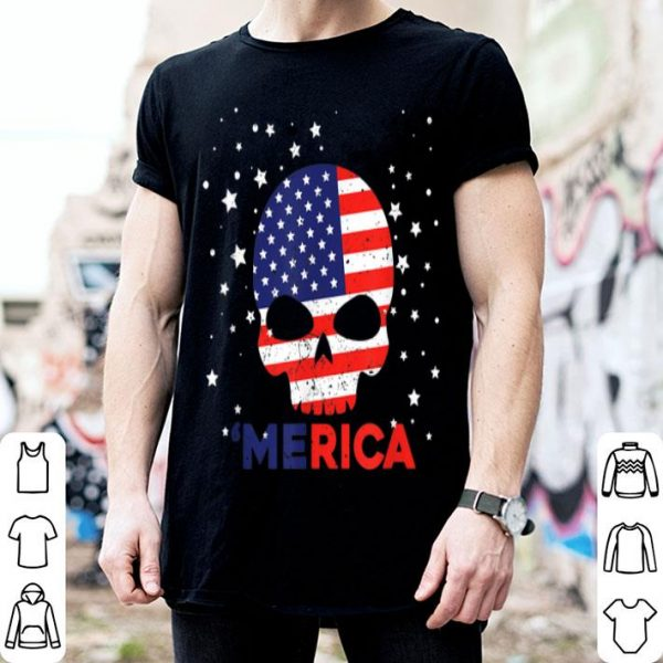 Merica American Flag Skull 4th Of July Patriotic shirt