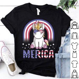 Merica Unicorn Patriotic USA Flag 4th Of July shirt