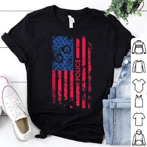 Police Patriotic American Flag 4th Of July Gifts Shirt