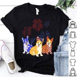 Red White Blue Corgi USA Flag Firework 4th Of July shirt
