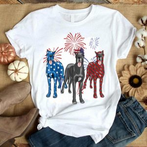 Red White Blue Great Dane American Flag 4th Of July Shirt