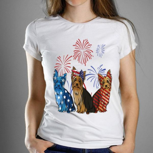 Red White Blue Yorkshire Terrier USA Flag 4th Of July shirt