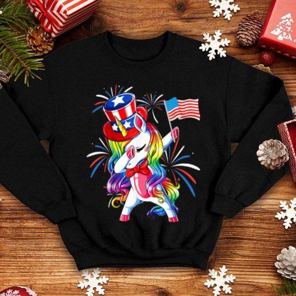 Unicorn Dabbing Patriotic 4th Of July American Flag shirt