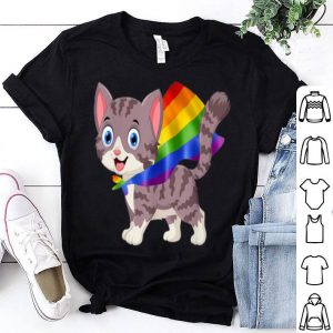 Vintage Gay Pride Flag Cat LGBT Pride Gifts Shirt