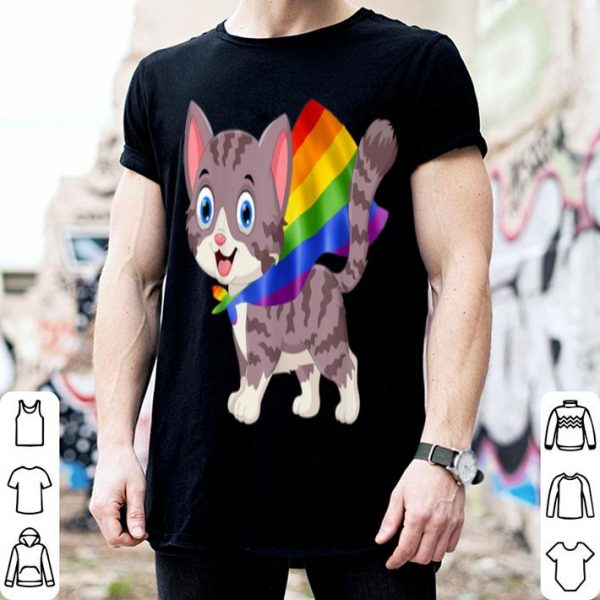 Vintage Gay Pride Flag Cat LGBT Pride Gifts Shirt