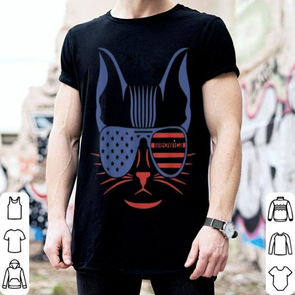 Women American Patriotic Cat US Flag MEOWICA shirt