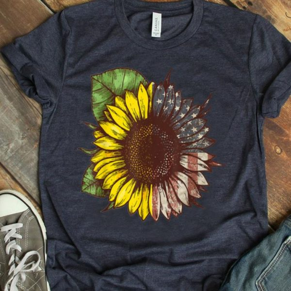 Womens Hippie Sunflower American Flag 4th Of Julys shirt