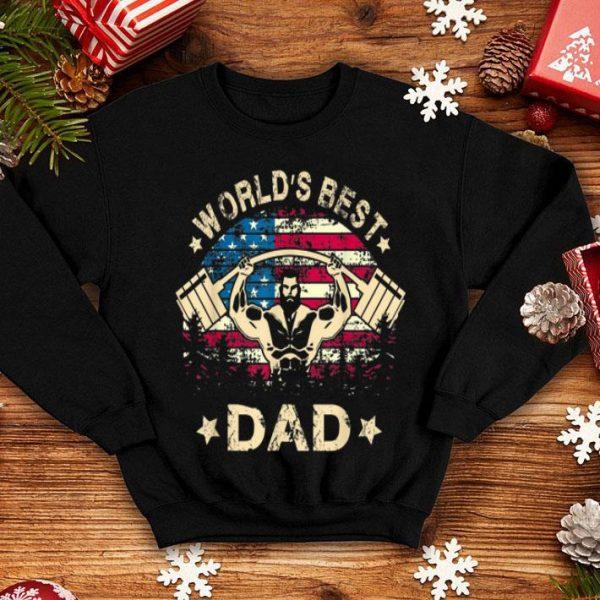 World Best Gym Dad 4th Of July American Flag shirt
