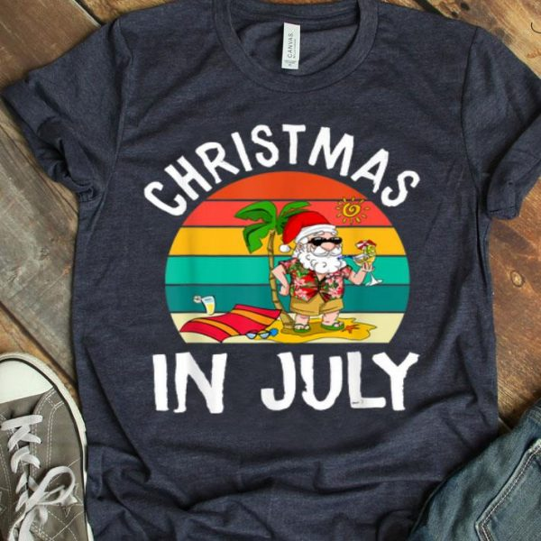 Christmas In July Santa Hawaiian Summer Tee shirt