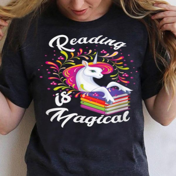 Cute Unicorn Book Lover Reading Is Magical shirt