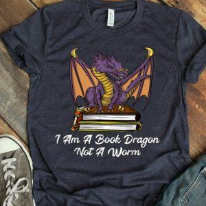 I Am Book Dragon Not Worm Reading Nerd shirt