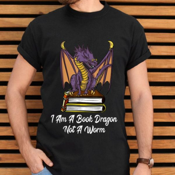 I Am Book Dragon Not Worm Reading Nerd shirt